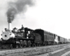 A black and white picture of Clinchfield 4-6-0 with smoke coming out of its chimney