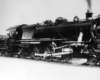 A close up black and white photo of a PRR 1737
