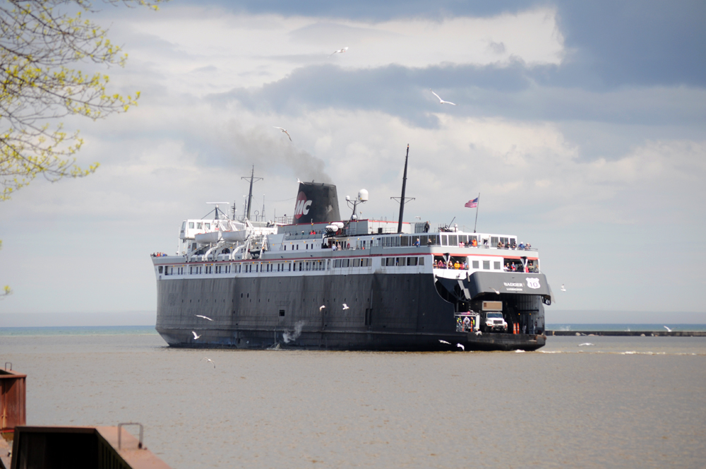A real railroad car ferry still plies Lake Michigan's water between Wisconsin and Michigan.