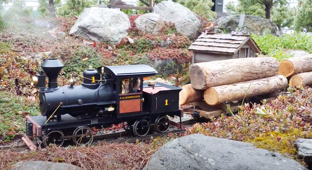 steam engine pulling flatcars with logs on a garden railroad