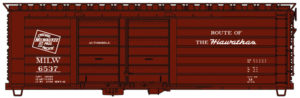 Accurail HO scale Milwaukee Road 40-foot ribbed-side double-door boxcar
