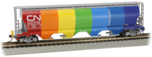 Bachmann Trains HO scale four-bay cylindrical covered hopper with Flashing Rear End Device