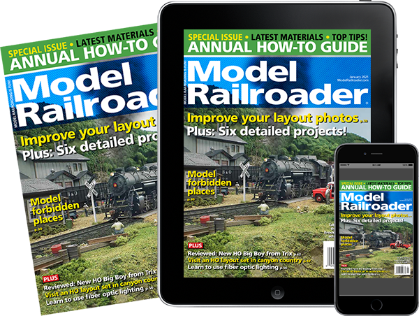 A physical copy of Model Railroader alongside a tablet and mobile phone featuring covers of the issue