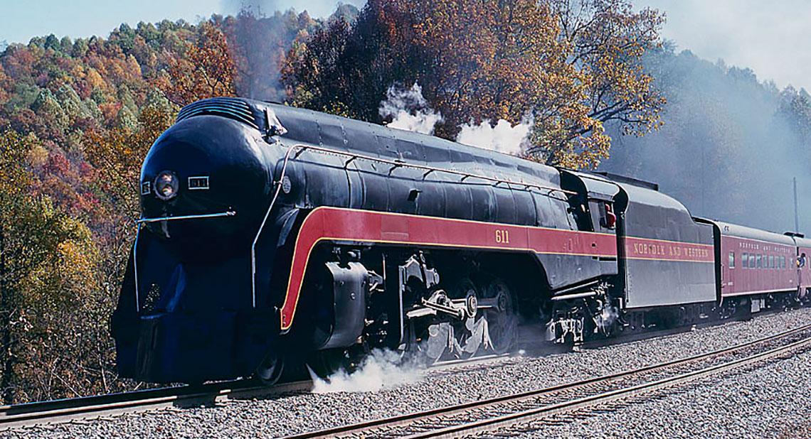 a streamlined locomotive pulling passenger cars