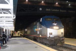 Amtrak train at Jack London Square Station