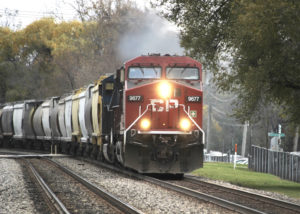 A Canadian Pacific train passes through Deerfield, Ill.