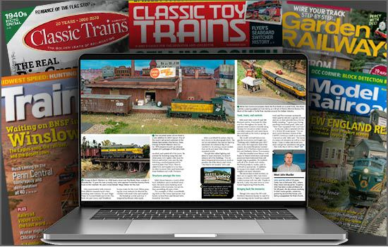 A laptop with the trains.com unlimited member archives logo and surrounded with past issues of Trains, Model Railroader, Classic Trains, Classic Toy Trains, and Garden Railways.