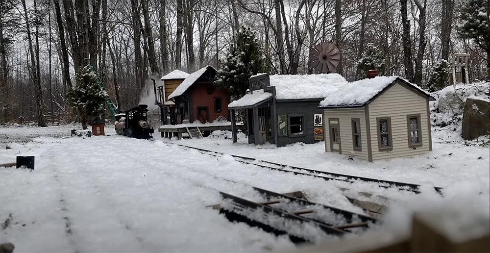 snowy garden railway