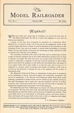 Model Railroader's 1st issue: January, 1934