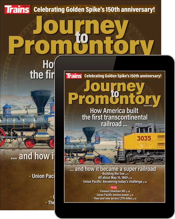 Journey to Promontory special issue cover and a tablet showing the cover
