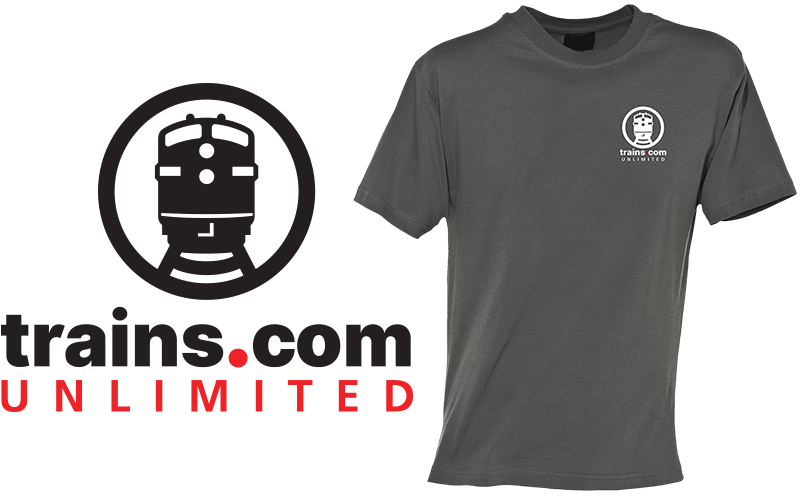 Trains.com logo next to a grey t-shirt that features the logo on the left chest area