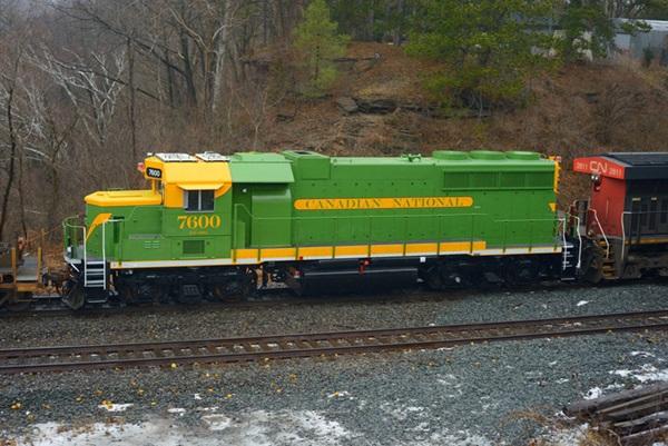 Green train on tracks
