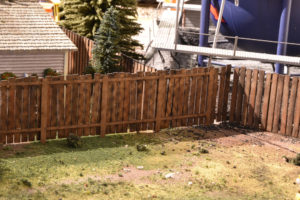 O scale wood fence kit by TW Trainworx, completed fence