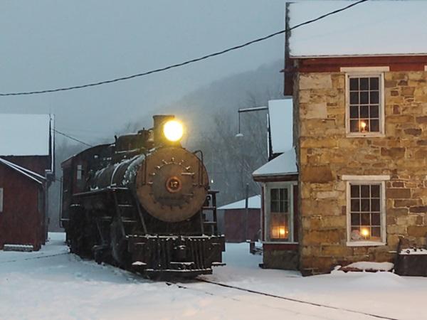 Locomotive in the snow