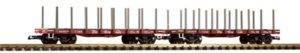 Flatcar with stakes sticking out of the top