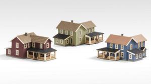 Three model houses