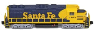 Yellow and blue Santa Fe train