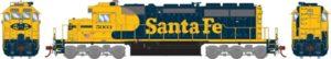 Blue and yellow Santa Fe train