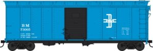 Blue boxcar with sliding door