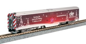 Train car with Christmas decals