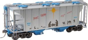 Covered hopper with Christmas decals