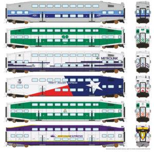 Rapido Trains HO scale Bi-level commuter cars