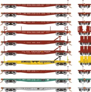 Different angles of flatcars