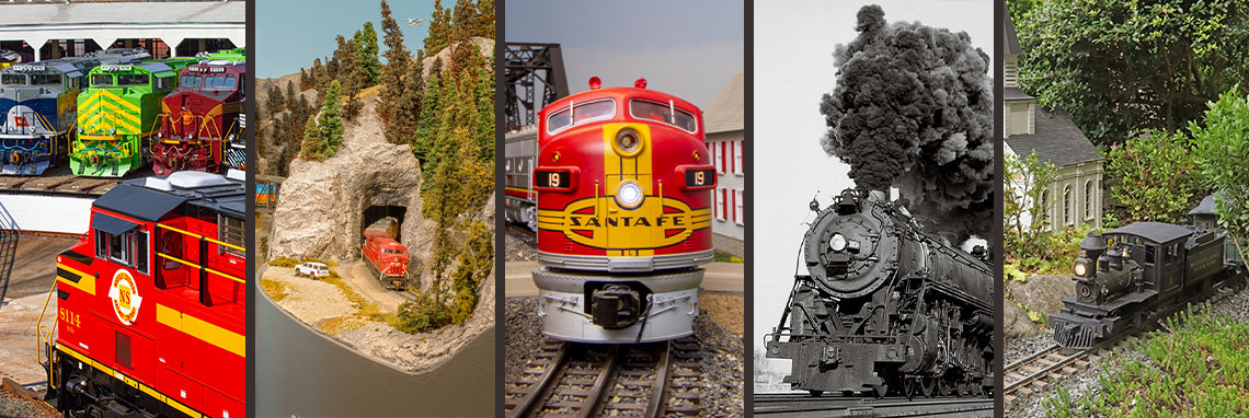 A variety of images showing a diesel, a model railroad, an o gauge diesel, a steam engine, and a steam engine in a garden railroad