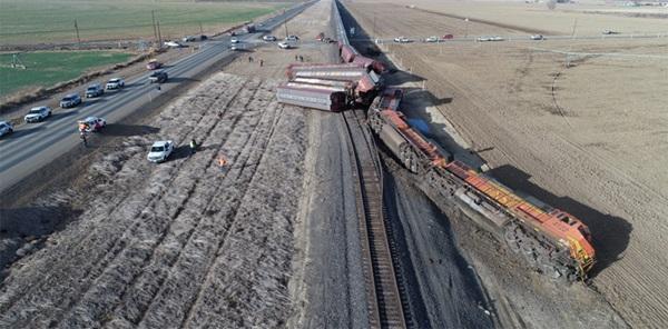 A derailed train