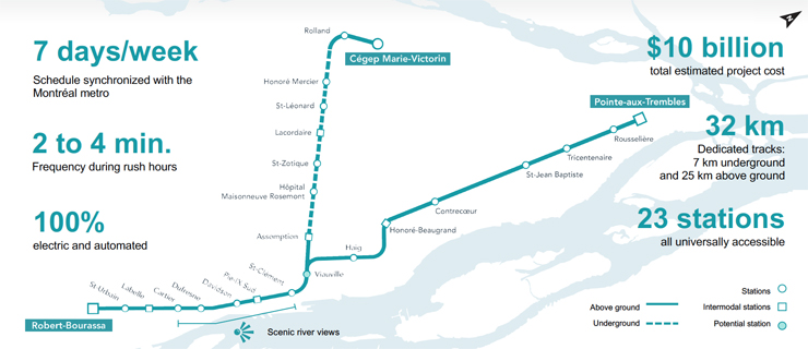 Montreal light rail project map.