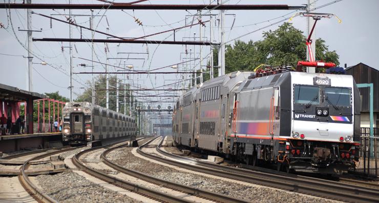 NJ Transit trains meet at Elizabeth, N.J., in August 2019