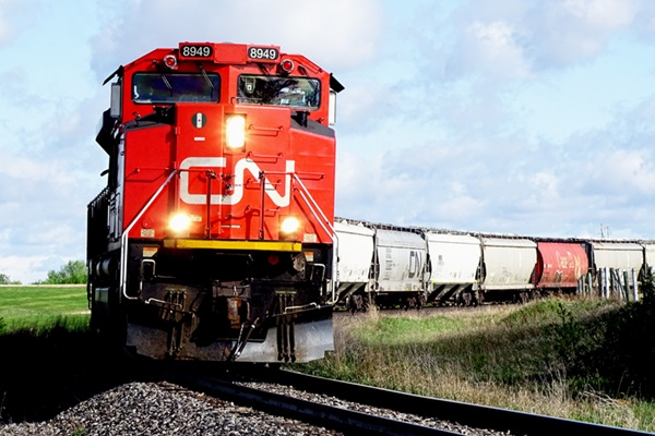 Train pulling multiple cars