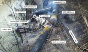 Photo of derailment wreckage