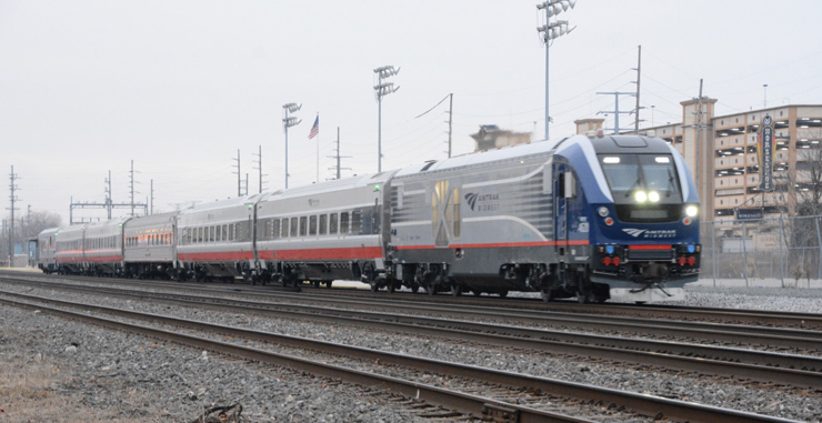 Passenger train by parking deck