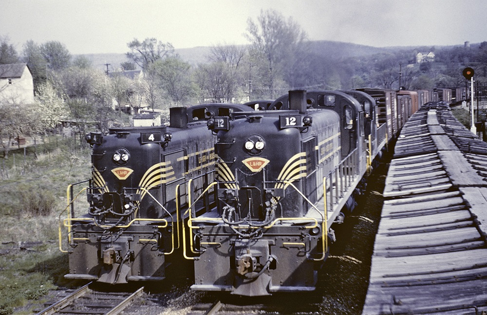 Four Lehigh & Hudson River RS3 diesel locomotives.