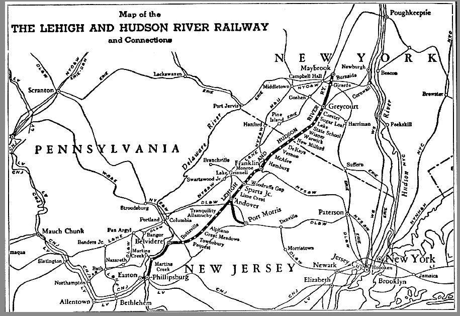 Lehigh & Hudson River Railway map