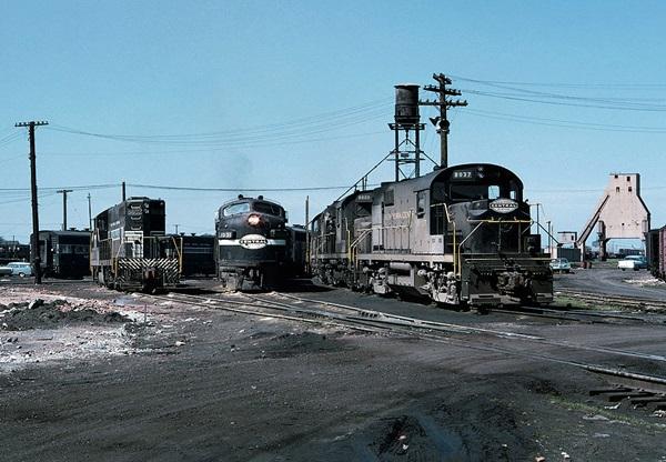Diesel locomotives in engine terminal.