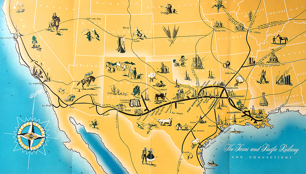 Illustrated map of the Texas & Pacific Railway.