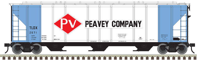 Atlas O Peavey Co. Pullman-Standard 4,427-cubic-foot capacity low-side three-bay covered hopper