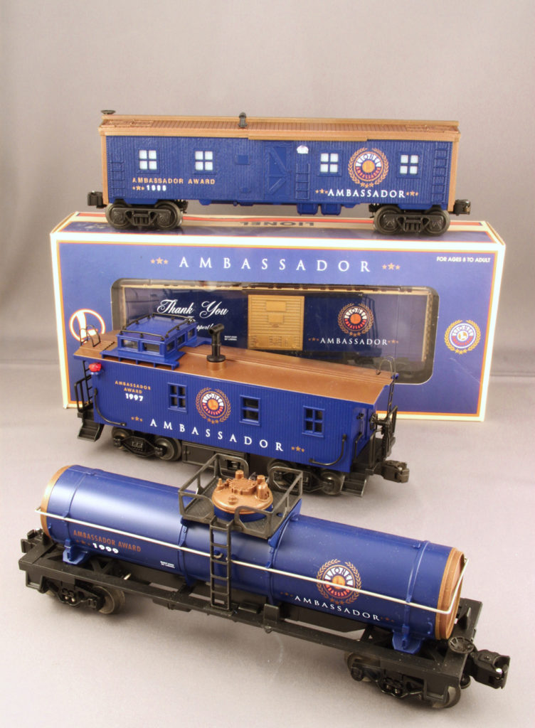 Scarce Lionel Ambassador bunk car, boxcar, caboose, and tankcar