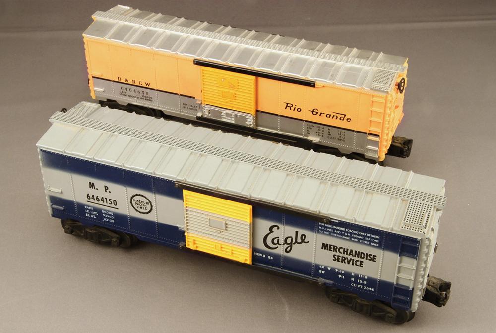 Lionel Rio Grande and Missouri Pacific 6464 boxcars], tends to attract attention