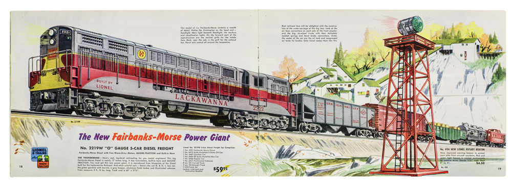 Color illustration of Lionel no. 2219W model railroad set in 1954 catalog