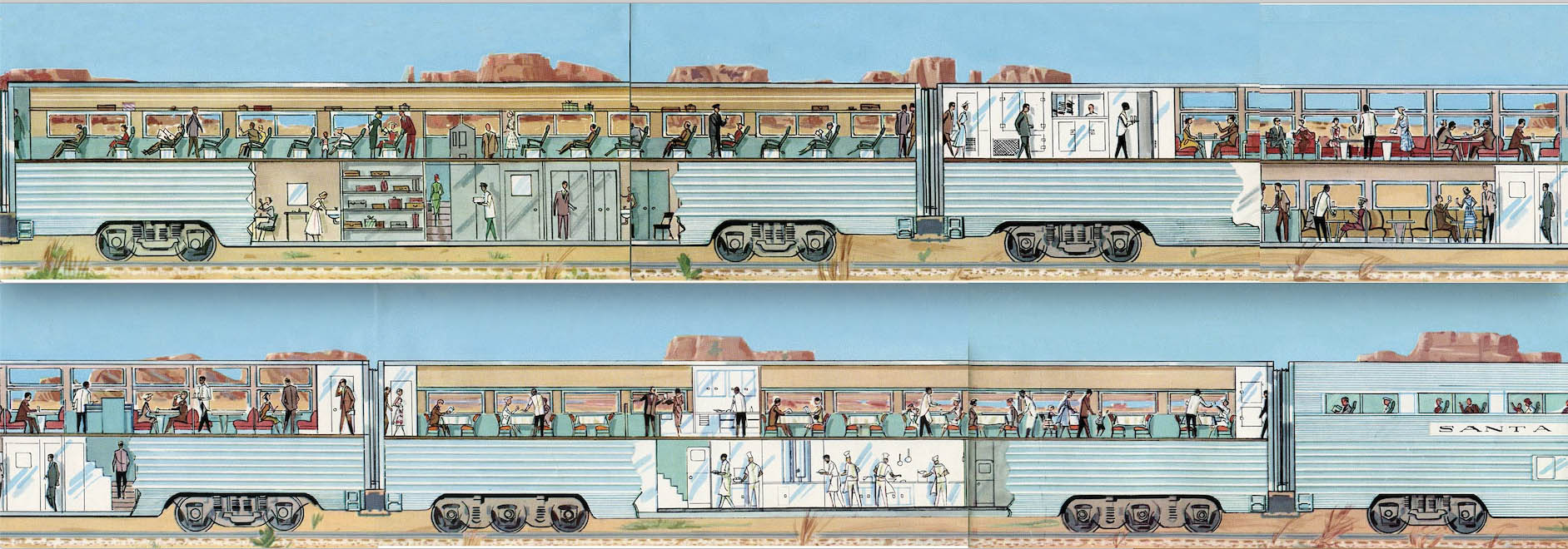 Artwork from brochure showing interiors of Santa Fe El Capitan passenger train