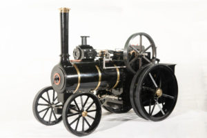 "Accucraft and MaxiTrak 1.5"" scale Allchin traction engine in black paint scheme"