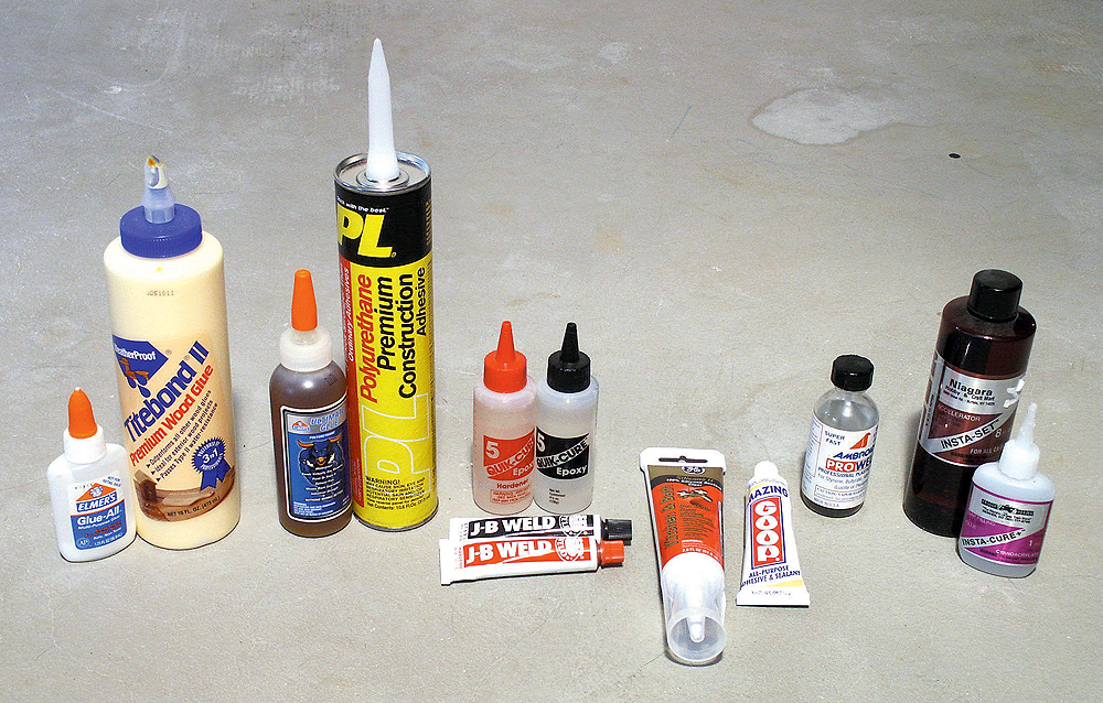 Several bottles and tubes showing the various adhesives described in the article.