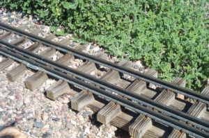 Handlaid gauge-1 track with redwood ties