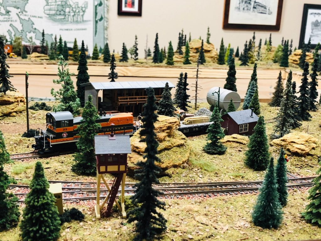 A model train carrying lumber.