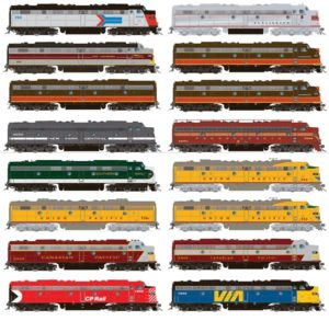 12 trains in different colors
