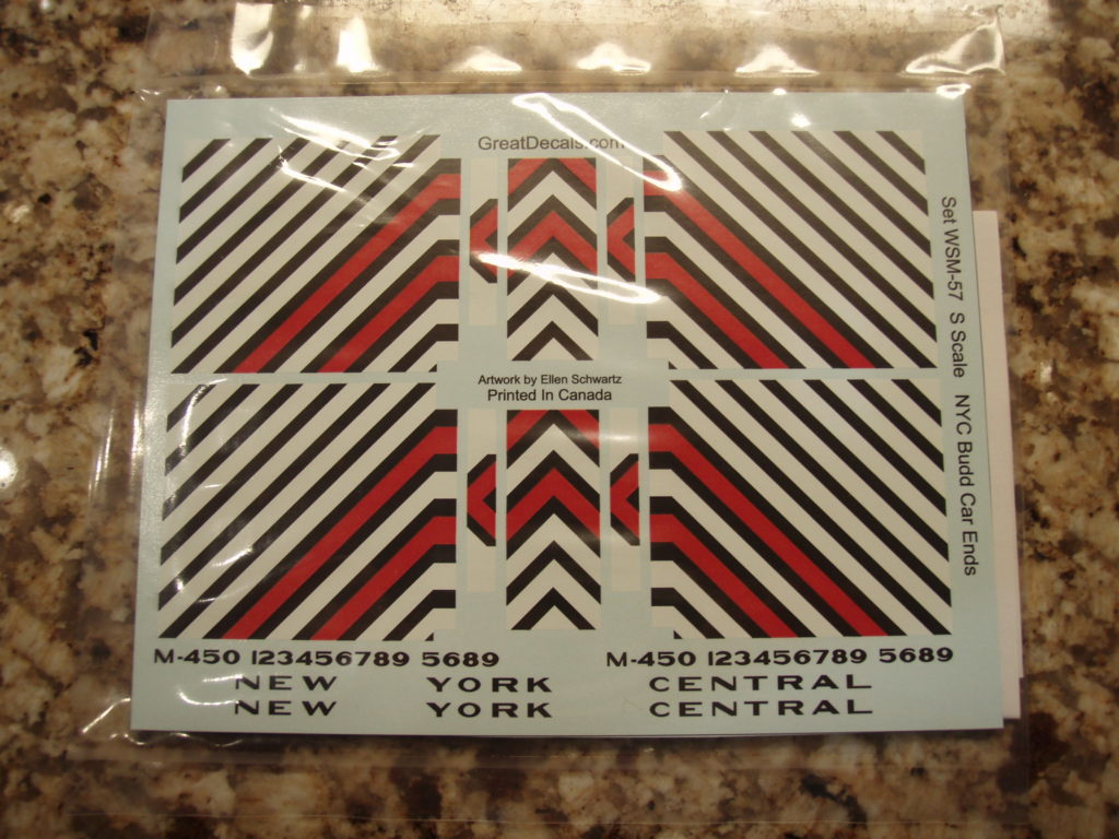 Great Decals S scale New York Central Budd Rail Diesel Car safety striping decals