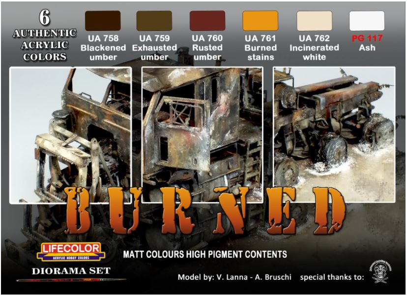Lifecolor Burned paint and pigment set available from the Kalmbach Hobby Store
